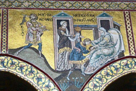 Исак даје благослов Јакову, детаљ мозаика из базилике у Монреалу, Сицилија, XII в.